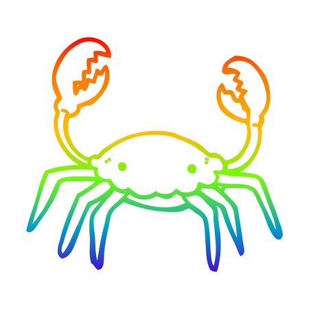 rainbow gradient line drawing of a cartoon crab