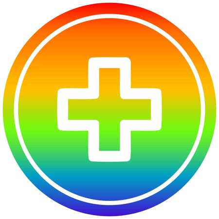addition with rainbow gradient finish circular icon with rainbow gradient finish