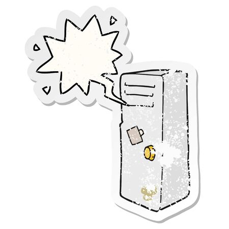 cartoon locker with speech bubble distressed distressed old sticker Illustration
