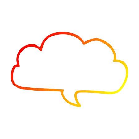 warm gradient line drawing of a cartoon cloud speech bubble