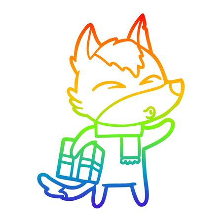 rainbow gradient line drawing of a cartoon christmas wolf whistling