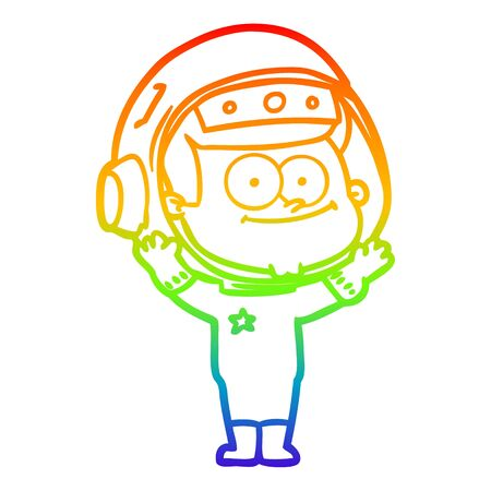 rainbow gradient line drawing of a happy astronaut cartoon 向量圖像