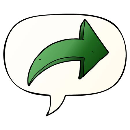 cartoon pointing arrow with speech bubble in smooth gradient style
