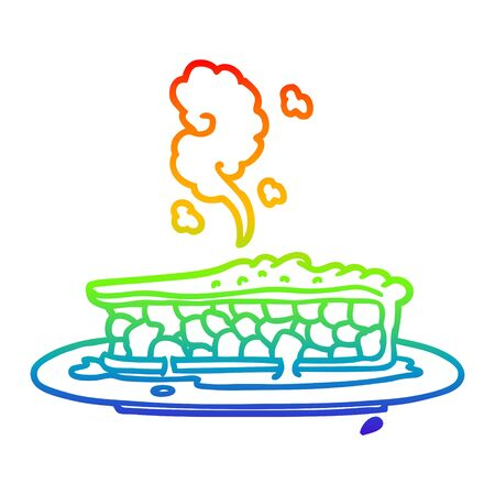 rainbow gradient line drawing of a cartoon blueberry pie Иллюстрация