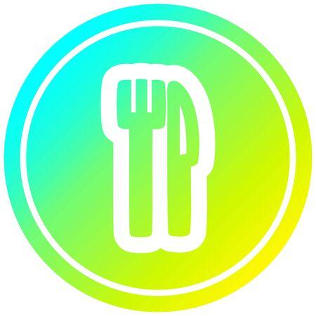 knife and fork circular icon with cool gradient finish Illusztráció