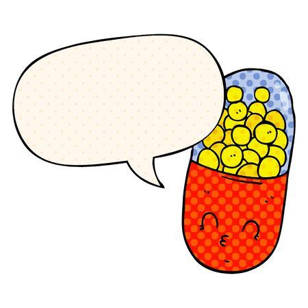 cartoon pill with speech bubble in comic book style Ilustração