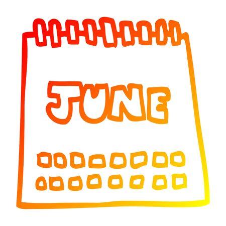 warm gradient line drawing of a cartoon calendar showing month of june Ilustração