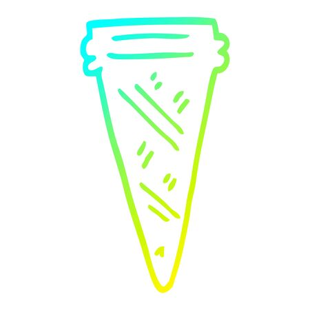cold gradient line drawing of a cartoon ice cream cone