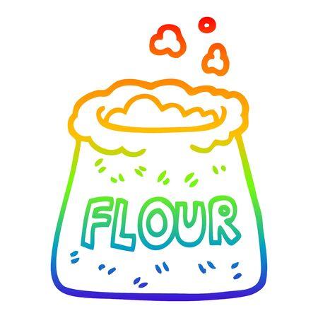 rainbow gradient line drawing of a cartoon bag of flour Ilustrace