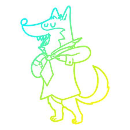 disegno a linea di gradiente freddo di un lupo dell'ufficio dei cartoni animati che si veste