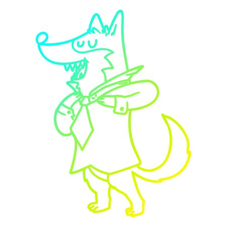 cold gradient line drawing of a cartoon office wolf getting dressed