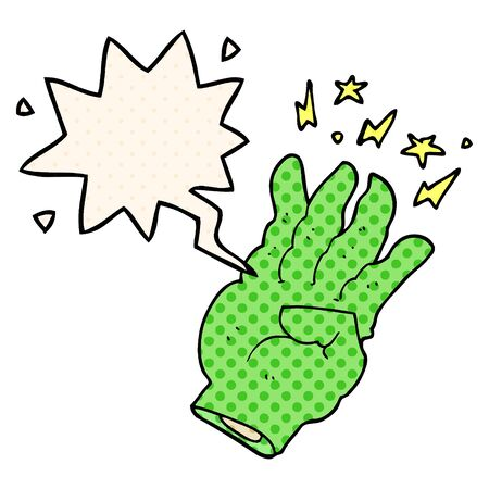 cartoon spooky magic hand with speech bubble in comic book style