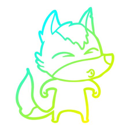 cold gradient line drawing of a cartoon wolf whistling