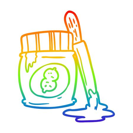 rainbow gradient line drawing of a jar of peanut butter