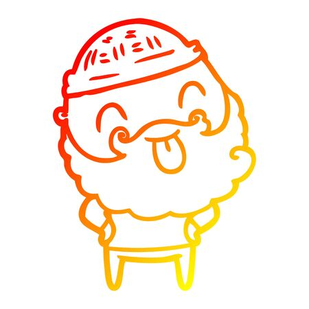 warm gradient line drawing of a man with beard sticking out tongue