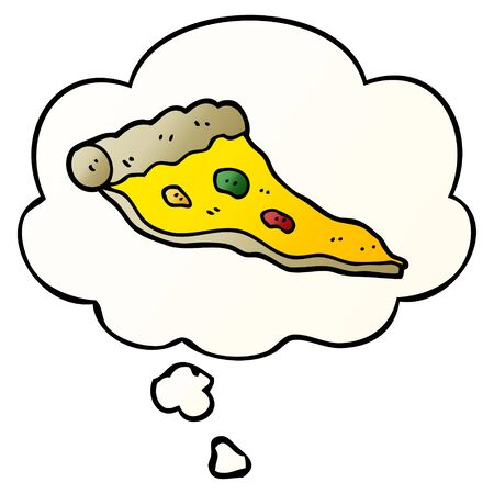 cartoon pizza with thought bubble in smooth gradient style