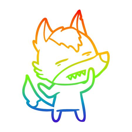 rainbow gradient line drawing of a cartoon wolf showing teeth