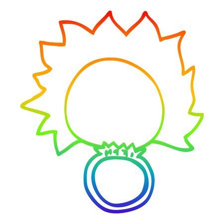rainbow gradient line drawing of a cartoon fire ball ring Ilustração