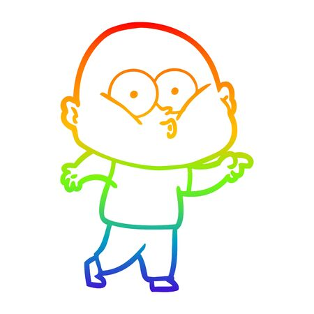 rainbow gradient line drawing of a cartoon bald man staring
