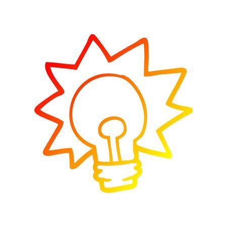 warm gradient line drawing of a cartoon shining light bulb Ilustração
