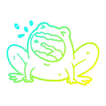 cold gradient line drawing of a cartoon frog shouting  イラスト・ベクター素材