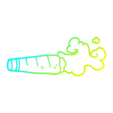 cold gradient line drawing of a cartoon smoking cigar Illusztráció
