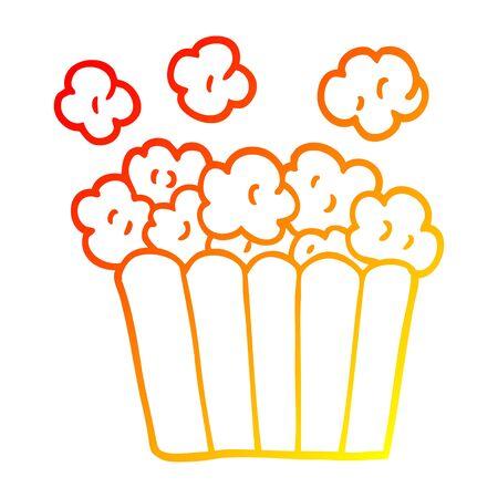 warm gradient line drawing of a cartoon popcorn