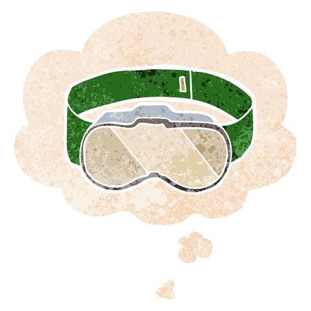cartoon goggles with thought bubble in grunge distressed retro textured style