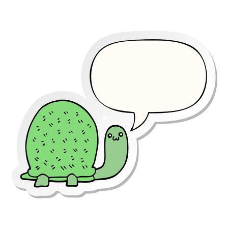 cute cartoon turtle with speech bubble sticker