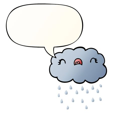 cute cartoon cloud with speech bubble in smooth gradient style
