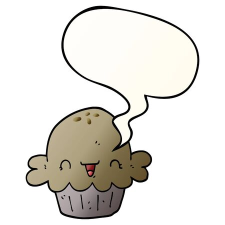 cute cartoon pie with speech bubble in smooth gradient style Standard-Bild - 130577357