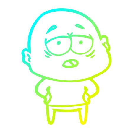 cold gradient line drawing of a cartoon tired bald man Ilustrace