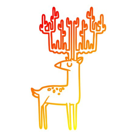 warm gradient line drawing of a cartoon stag with huge antlers Stock Illustratie