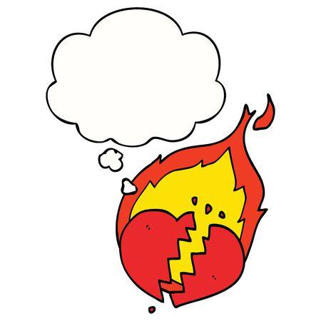 cartoon flaming heart with thought bubble Illusztráció