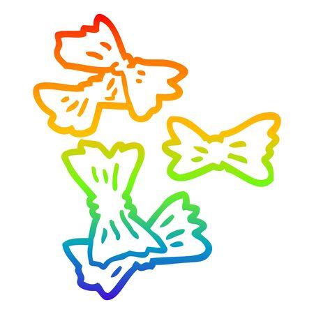 rainbow gradient line drawing of a cartoon wheat pasta 일러스트