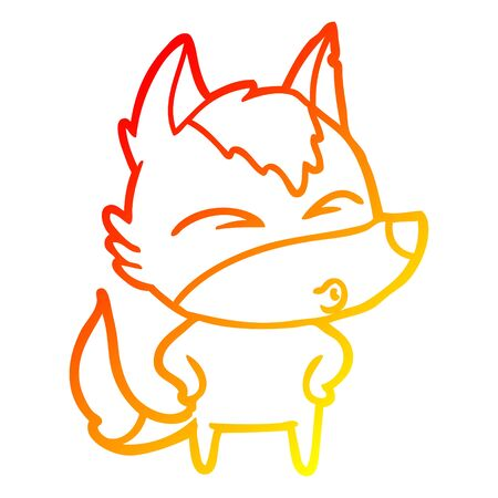 warm gradient line drawing of a cartoon wolf whistling Stock Illustratie