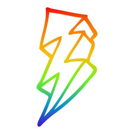 rainbow gradient line drawing of a cartoon lightning bolt Banco de Imagens - 130577603