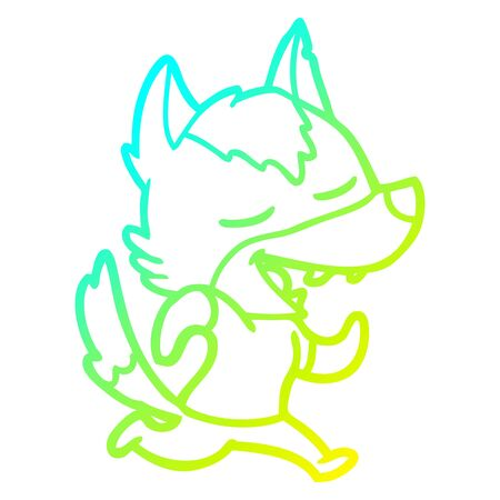 cold gradient line drawing of a cartoon running wolf laughing