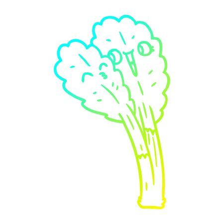 cold gradient line drawing of a cartoon salad leaves