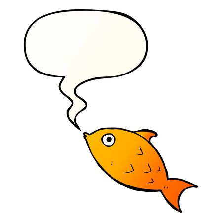 cartoon fish with speech bubble in smooth gradient style Ilustração