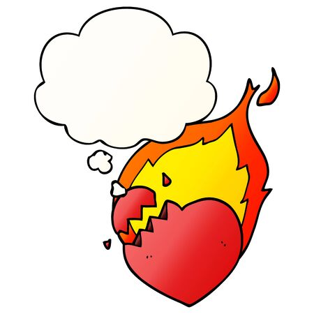 cartoon flaming heart with thought bubble in smooth gradient style Ilustração