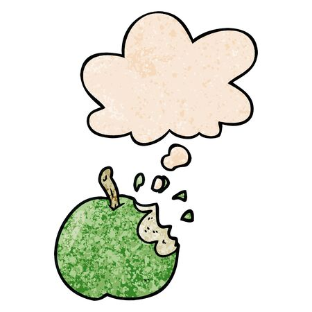 cartoon bitten apple with thought bubble in grunge texture style Illustration