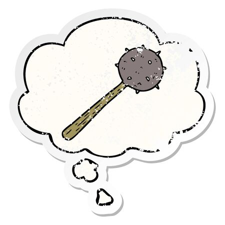 cartoon mace with thought bubble as a distressed worn sticker Illustration