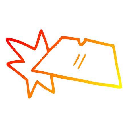 warm gradient line drawing of a cartoon shiny razorblades