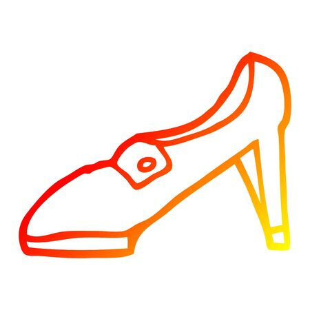 warm gradient line drawing of a cartoon red shoe