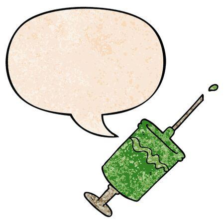 cartoon syringe needle with speech bubble in retro texture style