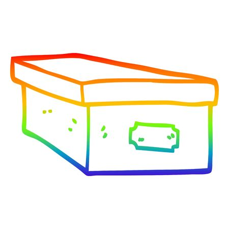 rainbow gradient line drawing of a cartoon office filing box