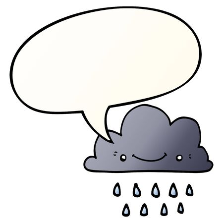 cartoon storm cloud with speech bubble in smooth gradient style