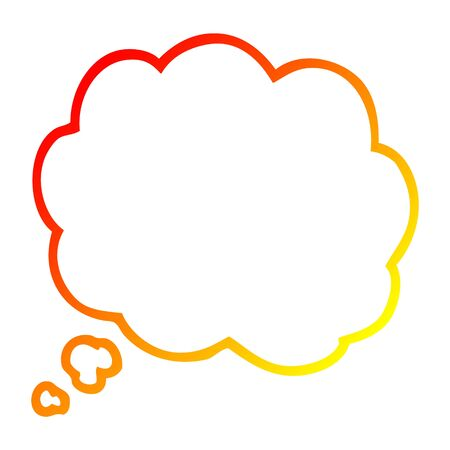 warm gradient line drawing of a cartoon thought bubble