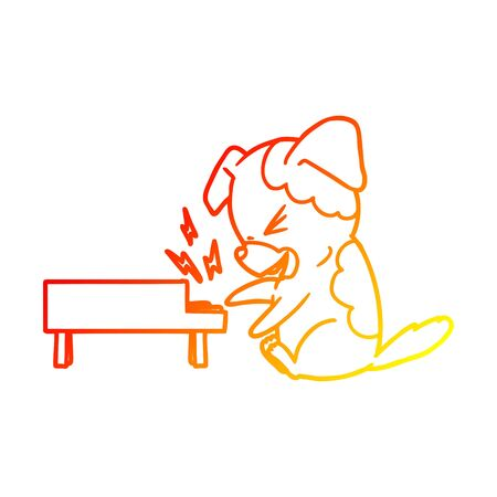warm gradient line drawing of a cartoon dog rocking out on piano